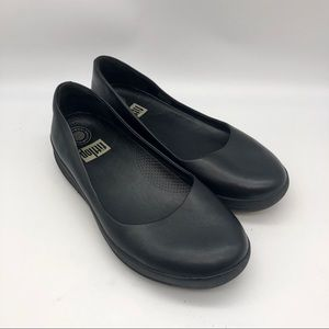 Fitflop Black Leather Ballet Flats